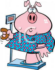 2224_fat_pig_woman_eating_a_donut_while_standing_on_a_scale