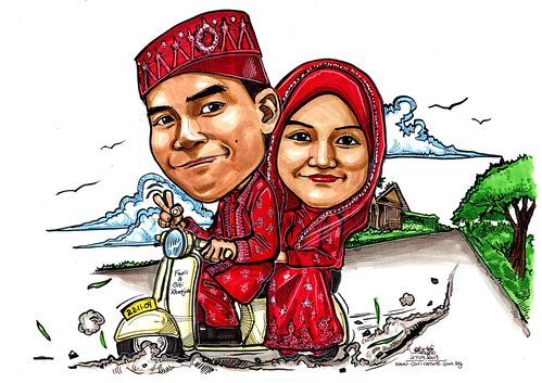 Malay wedding couple caricatures on vespa in Kampong