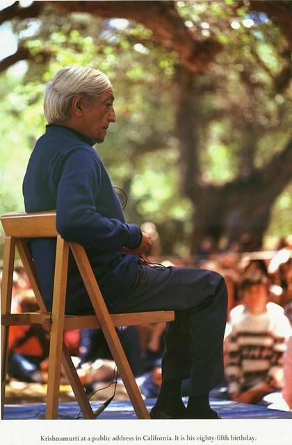 Jiddu Krishnamurti at a public address in California. It is his eighty-fifth birthday..