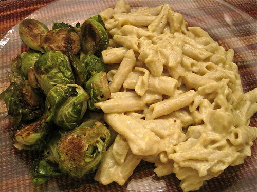 Vegan Mac 'N Cheeze & Roasted Brussels Sprouts