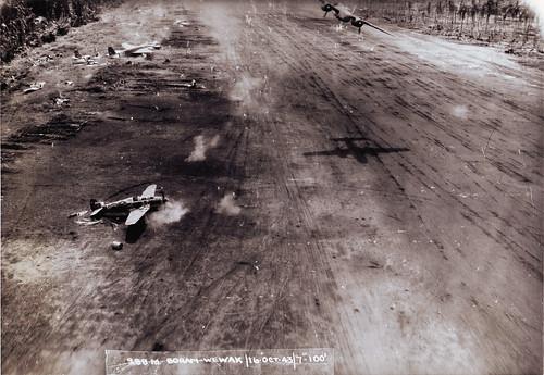 Warbird picture - B-25 USAAF Strafes Ki-61 Hien Boram airfield New Guinea 1943