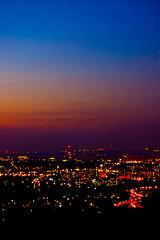 Poland, Bielsko-Biała by night, view from Dębowiec