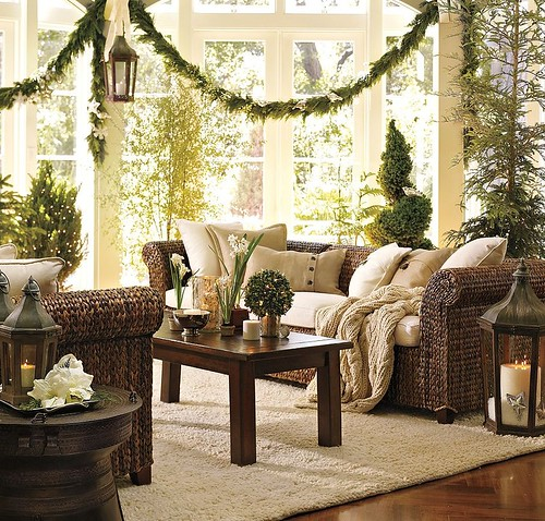 pottery barn christmas sunroom