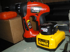 red yellow electric hardware construction basement battery replacement tools howto jigsaw charge tool charger charging drill workbench screwdriver firestorm sander multitool blackanddecker batterypack rechargeable dewalt 12v 12volt batterycharger blackdecker workaround 18v inthebasement 72v dc9310