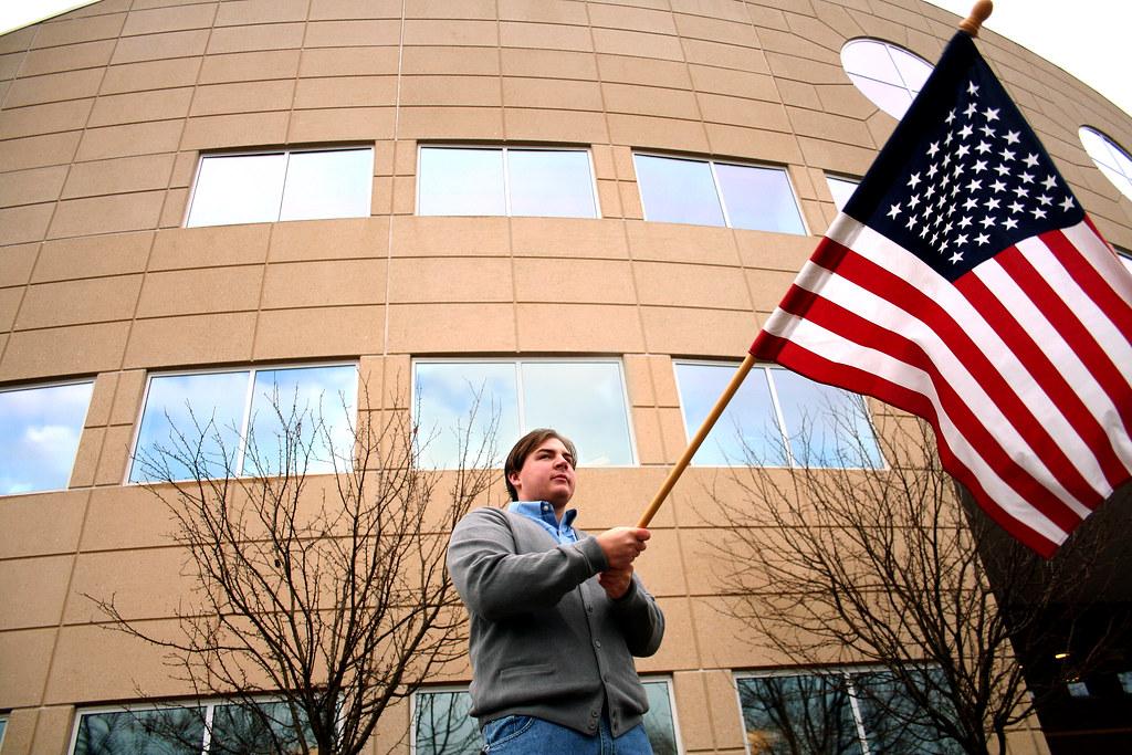 American flag, Gov. Granholm protest