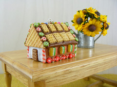 Miniature Gingerbread House (Shay Aaron) Tags: christmas xmas food house tree scale dessert miniature necklace candy crystal handmade aaron fake mini jewelry charm polymerclay fimo biscuit ornament sprinkles tiny faux shay icing citrus candycane 12th 112 pretzel cuts pendant frosting geekery marmalade jewel petit twelfth hanselandgretel  chocolatechipscookie    christmasspirit           brothergrimm      shayaaron wearablefood