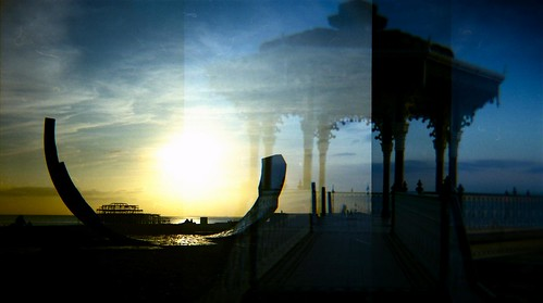 An accidental and overlapping double Exposure composed from Aspects of the Seafront at Brighton