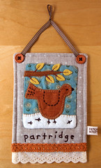 Linen Partridge Hanging (PatchworkPottery) Tags: bird quilt handmade linen embroidery sewing crafts mini patchwork applique partridge zakka wallhanging