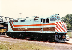A Chicago RTA 1970's era EMD model F-40PH commuter locomotive on display at the July 1983 West Chicago Illinois Railroad Days celebration.