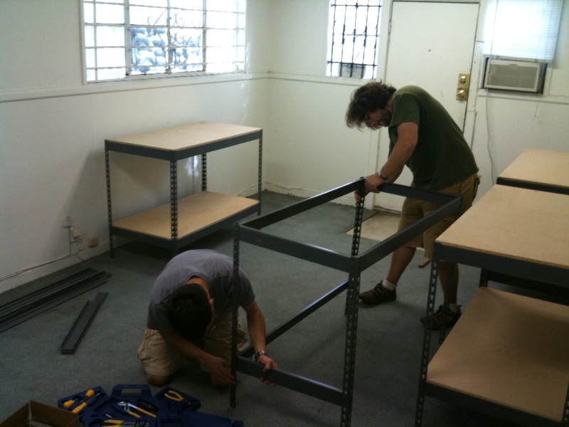 Shelves being built at @crashspacela