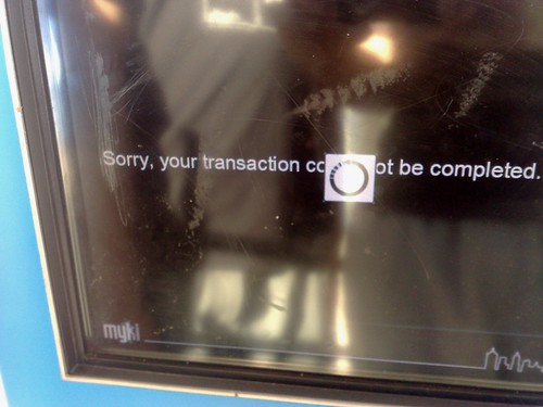 Myki machine fails to do credit card transaction