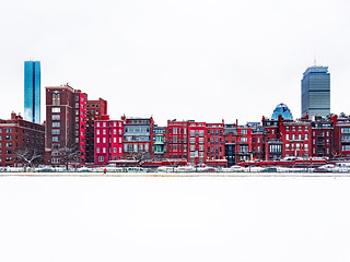 Winter Boston Skyline - red version