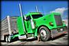 Green calfer (static bob) Tags: tractor green truck lights big semi chrome rig trailer lime livestock polished stacks peterbilt hauler 379 stait bullrack