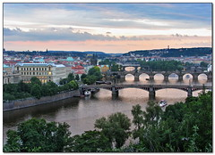 Prague Bridges (Mike G. K.) Tags: city sunset sky water architecture clouds buildings reflections river geotagged boats cityscape view prague bridges praha hills explore czechrepublic charlesbridge fp frontpage vltava karlovmost explored geo:lat=50093994 geo:lon=14413043 mikegk:gettyimages=submitted