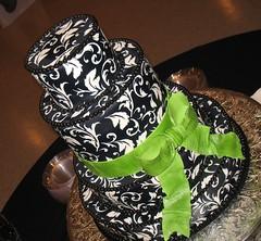 Sarah Shaw Wedding Cake (mandotts) Tags: wedding white black green cake beads cream ivory bow ribbon damask tiered beadededge beadedtrim