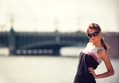 Anastasia #2 (Geshpanets) Tags: bridge portrait sun girl beauty sunshine fashion glasses bokeh 5d saintpetersburg anastasia 135mm lightroom selectivefocus 13520
