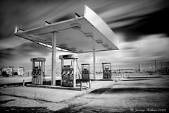 (ir guy) Tags: blackandwhite bw art ir photography fineart gas gasstation abandon infrared 5d ok gaspumps picher longexposer hoyar72filter jeremyholmes wwwirvisionscom