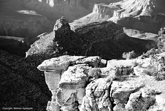 """""""Battleship"""" Rock Formation and View from the South Rim of the Grand Canyon in Arizona (Black and White) (Scandblue) Tags: arizona bw usa white black southwest landscape nationalpark ancient scenery grandcanyon awesome scenic monotone canyon geology redrock breathtaking timeless americanwest rockformation"""