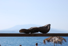 wood sculpture at Mikros Asselinos (venetia koussia) Tags: blue seagulls swimming sundown geranium rockybeach sandybeach sporades skiathosisland summeringreece  greekfona