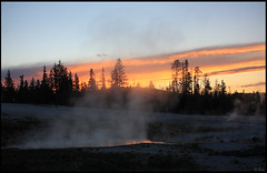 West Thumb Geyser Basin, Sunset (rickz) Tags: trees sunset red sky orange tree clouds forest nationalpark colorful cloudy steam yellowstonenationalpark yellowstone westthumb afterglow lateafternoon geyserbasin westthumbgeyserbasin