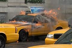 Burning Cab (almassengale) Tags: city nyc newyorkcity newyork fire cab taxi sony gas burning bigapple yellowtaxi sonya700