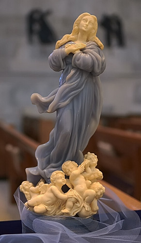 "Alabaster statue, ""Our Lady of the Assumption"", made in Florence, Italy, from the collection of the Marianum, photographed at the Cathedral of Saint Peter, in Belleville, Illinois, USA"