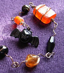 Orange Bat Dangle - a beaded Halloween decoration