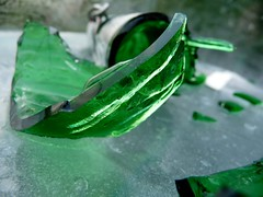 Broken Bottle (Tijs Zwinkels) Tags: green ice wet water beer glass horizontal bottle melting object sharp container material smashed damaged shards cracked tz5