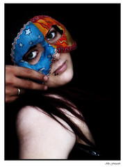 Masked Woman (Alby Menta) Tags: people valencia girl azul photography rojo moments katy mask gente vampire luna personas fotografia alby simat simatdelavalldigna maskedwoman thechallengegame challengegamewinner albamaria albymenta albymentaolympus