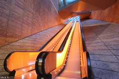 Amber Glow (Mick h 51) Tags: street uk light england orange architecture liverpool canon mall shopping one amber paradise glow centre escalator group center grosvenor shoping liverpoolone 450d