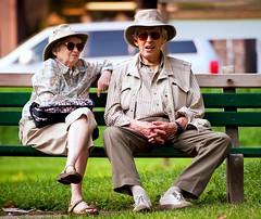 Canadian Gothic (Still The Oldie) Tags: kewgardens toronto ontario canada couple uncool lakeontario parkbench mates laborday labourday oldercouple thebeaches kewbeach theboardwalk cool2 tilleyendurables cool5 cool3 cool6 cool4 cool1 cool7 torontolifecom uncool2