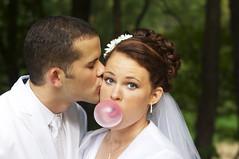 B U B B L E (blazin glory) Tags: wedding portrait outdoors bride woods kiss sweet marriage bubble bubblegum brideandgroom canon40d