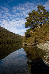 """Fiordland's Fergus Reflections"" (fantommst) Tags: trees newzealand sky lake reflection water clouds nz fergus fiordland fiordlands lakefergus flickrchallengegroup"