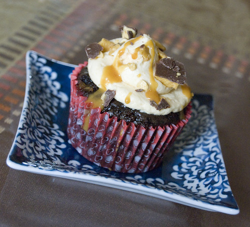 Chocolate Mud Cupcakes with Caramel Buttercream violet crumble pieces and caramel sauce  - Happy HomeMade Cupcakes