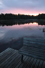(eeviko) Tags: trees summer sky tree forest suomi finland river bench landscape evening pier woods finnish pohjoiskarjala nurmes northkarelia easternfinland itsuomi