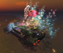 boat of flowers (ariana (sneaking back now and again)) Tags: flowers nature reflections wings sl fantasy secondlife embryo fae elven