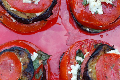 Roasted Eggplant Stacks With Tomato, Feta & Basil by Eve Fox, Garden of Eating blog