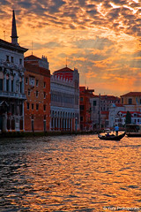Sunset over Grand Canal, Venice, Italy (-yury-) Tags: venice sunset italy sun color colour water architecture canon landscape photography photo italia 5d gondola venezia cluds grandcanal gondolier canalgrande abigfave anawesomeshot ultimateshot