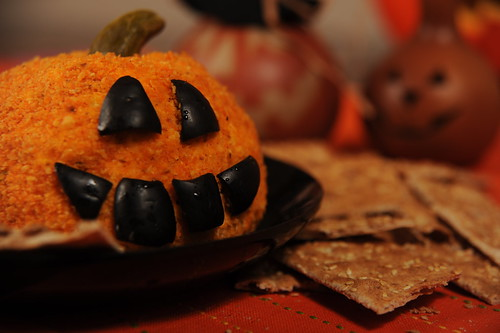 Festive Jack-o-Lantern Cheese Ball