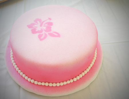 birthday fondant airbrush pink strawberry flower hibiscus