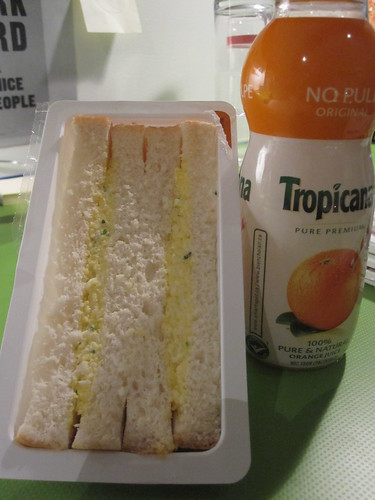 Egg sandwich and orange juice from metro dépaneur - $7.10