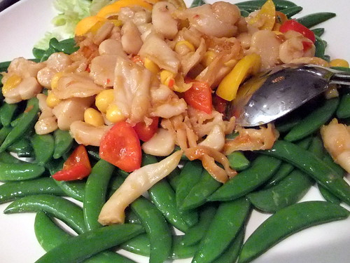 Stir Fry Snow Peas topped with clam meat