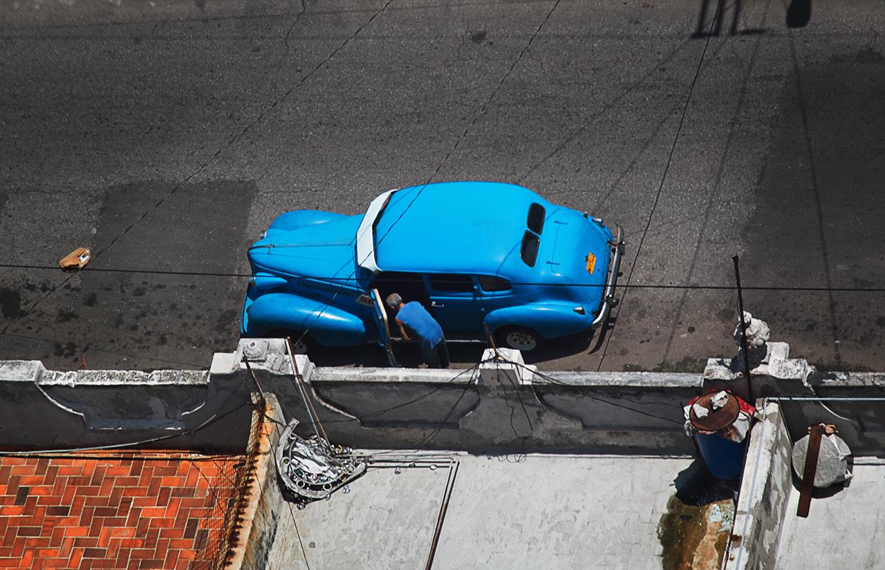Blue American Classic Car in