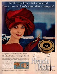 Coty's French Flair (saltycotton) Tags: red vintage magazine ad makeup powder advertisement 1950s 1958 cosmetics coty mccalls frenchflair isabellaalbonico