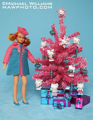 Home for the Dolly Days - Hello Kitty Christmas Tree (MyLifeInPlastic.com) Tags: hello christmas decorations tree home vintage for living miniature nice holidays barbie skipper kitty wrap days ornaments gift presents twice dolly mattel diorama