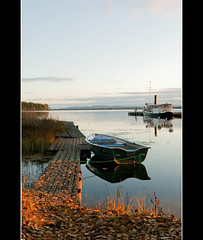 Autumn afternoon by the lake (texturedJohn) Tags: light sunset sea sun lake water boats dawn boat sweden lakes explore steamboat steamship steamer norrland hlsingland steamships explored