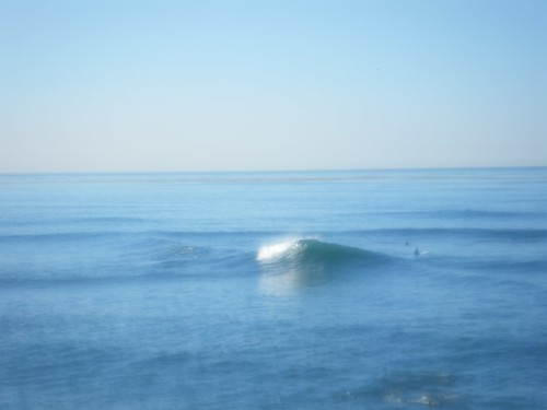Fuzzy picture that gives some idea of the size of the reef break at Bird Rock San Diego
