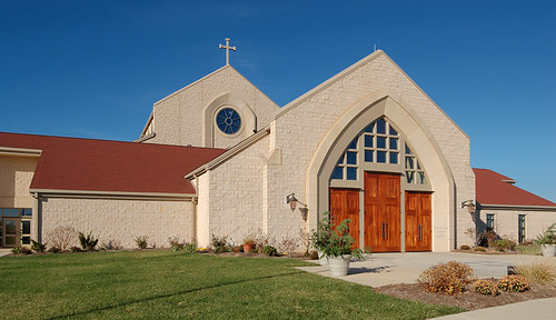 Saint Clare of Assisi Roman Catholic Church, in O'Fallon, Illinois, USA - exterior front