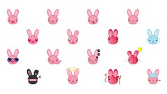 bunny smilies (Peppyvalina) Tags: cute rabbit bunny emoticons kawaii smilies smilys