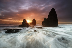 In The Moment - Rodeo Beach, California (Jim Patterson Photography) Tags: ocean california sunset red sea sky usa sun seascape motion color beach nature water clouds landscape photography coast marine rocks colorful waves natural pacific tripod shoreline scenic rocky wideangle icon coastal shore lee vista sunburst coastline sausalito iconic gitzo marinheadlands seastack reallyrightstuff rodeobeach remoterelease nikkor1224mm goldengaterecreationarea graduatedneutraldensityfilter singhray nikond300 markinsm20ballhead jimpattersonphotography jimpattersonphotographycom seatosummitworkshops seatosummitworkshopscom
